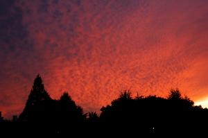 夕陽と江波山気象館