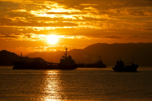 大竹市沖からの夜明け